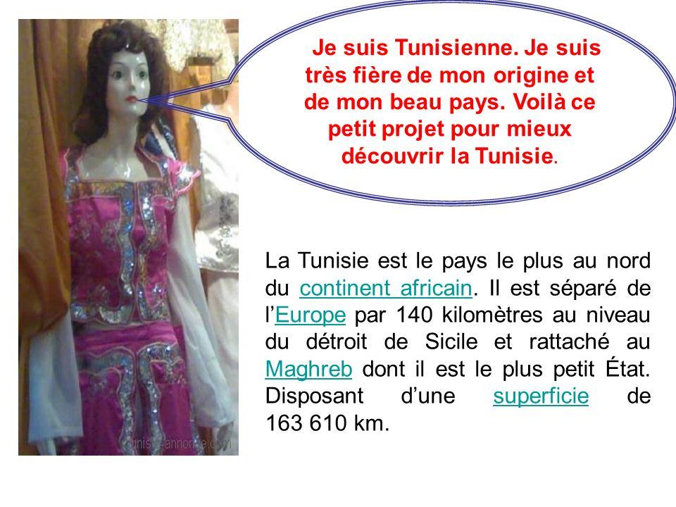 Je suis Tunisienne. Je suis très fière de mon origine et de mon beau pays. Voilà ce petit projet pour mieux découvrir la Tunisie. La Tunisie est le pa