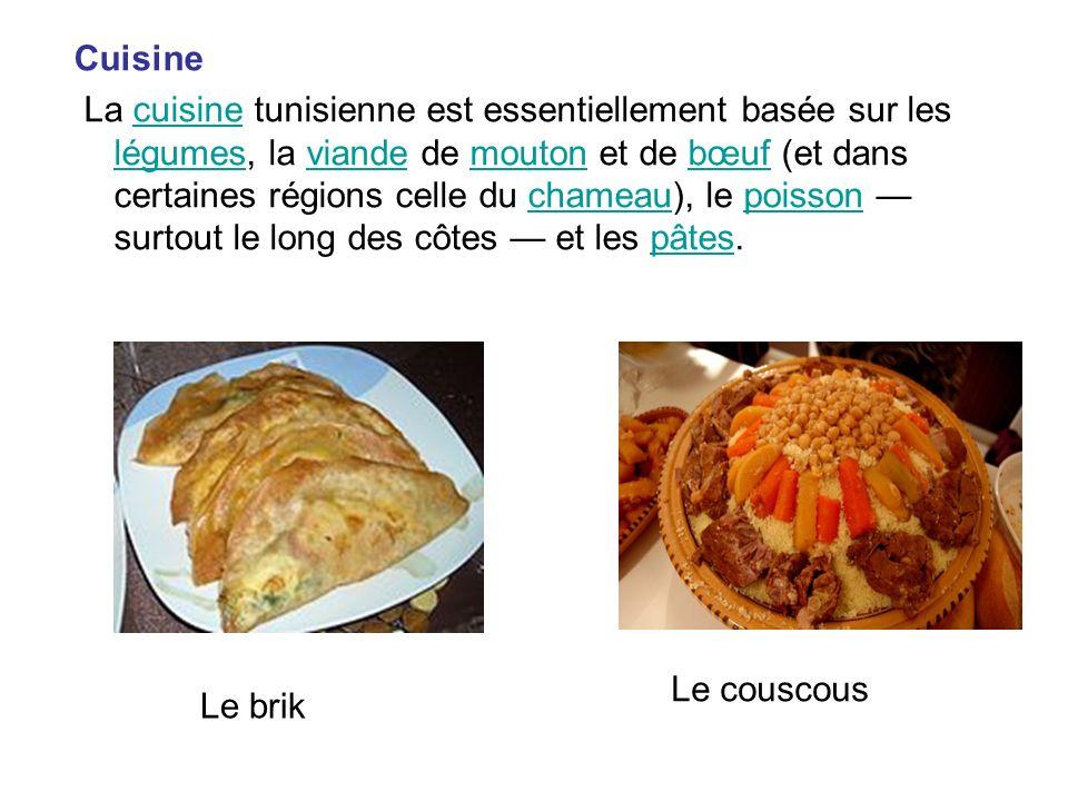 Cuisine La cuisine tunisienne est essentiellement basée sur les légumes, la viande de mouton et de bœuf (et dans certaines régions celle du chameau),