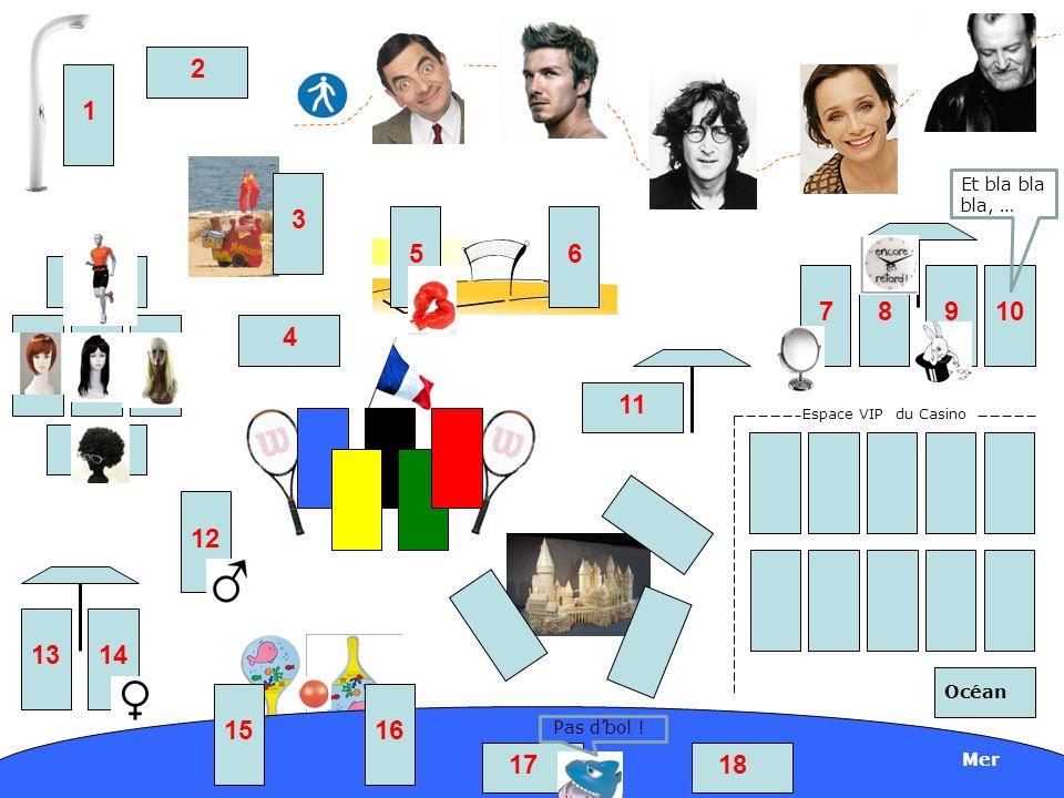 Espace VIP du Casino Mer Océan 1 3 2 56 4 78910 11 15 1413 12 1817 16 Pas dbol ! Et bla bla bla, …