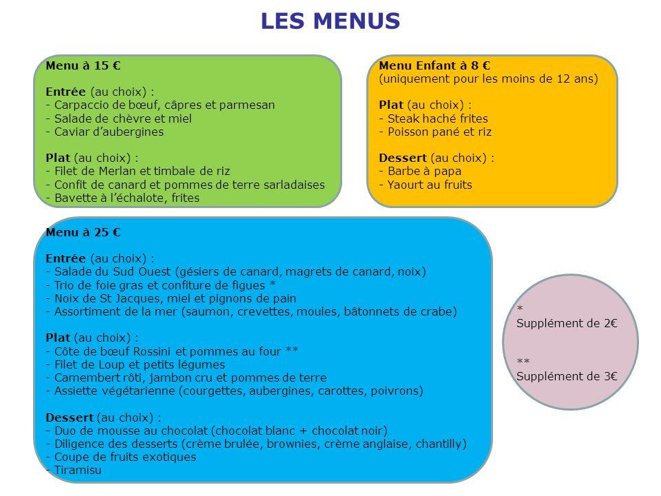 Menu à 25 Entrée (au choix) : - Salade du Sud Ouest (gésiers de canard, magrets de canard, noix) - Trio de foie gras et confiture de figues * - Noix d