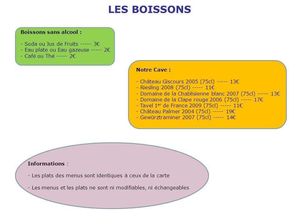 LES BOISSONS Boissons sans alcool : - Soda ou Jus de Fruits ----- 3 - Eau plate ou Eau gazeuse ----- 2 - Café ou Thé ----- 2 Notre Cave : - Château Gi