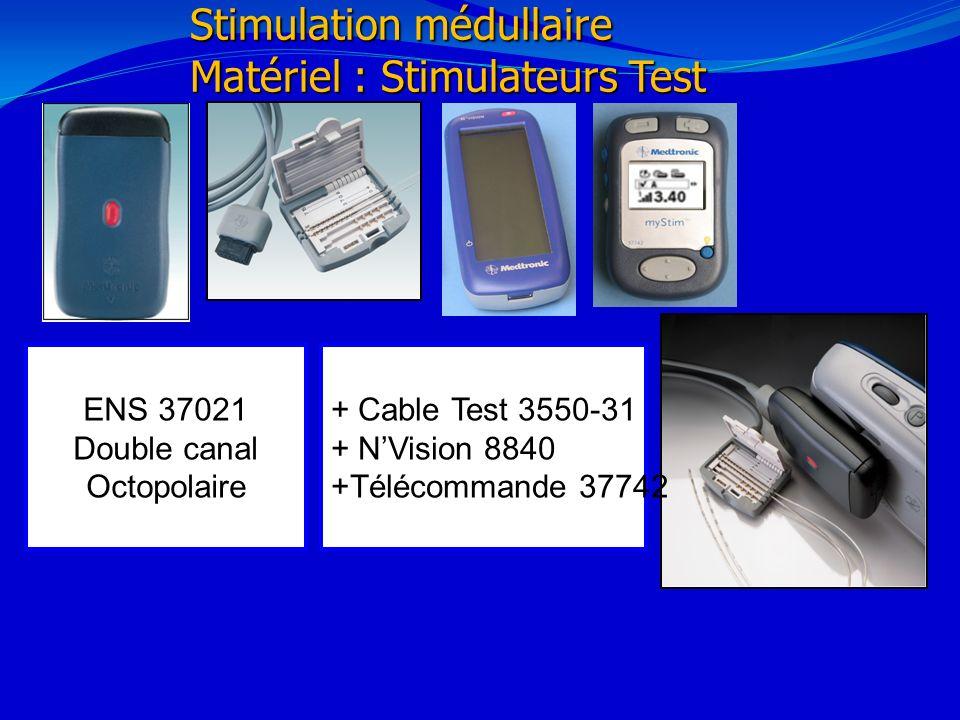 21/02/20141 Stimulation médullaire Matériel : Stimulateurs Test ENS 37021 Double canal Octopolaire + Cable Test 3550-31 + NVision 8840 +Télécommande 3