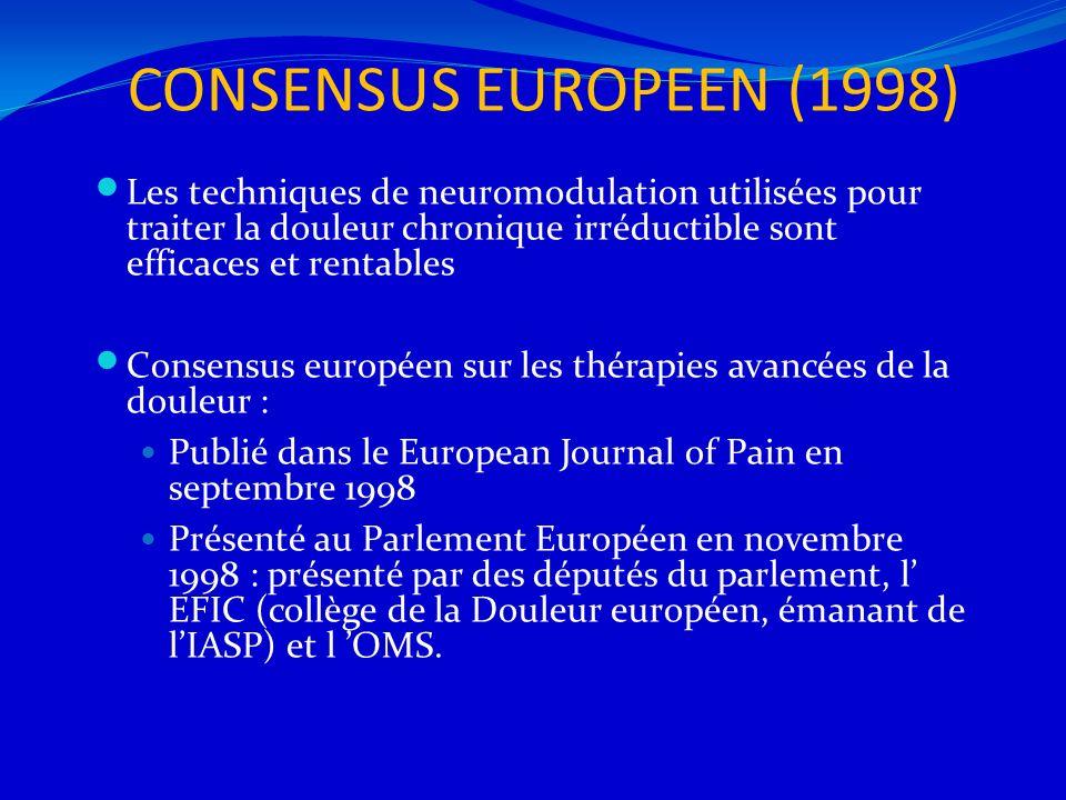 CONSENSUS EUROPEEN (1998) Les techniques de neuromodulation utilisées pour traiter la douleur chronique irréductible sont efficaces et rentables Conse