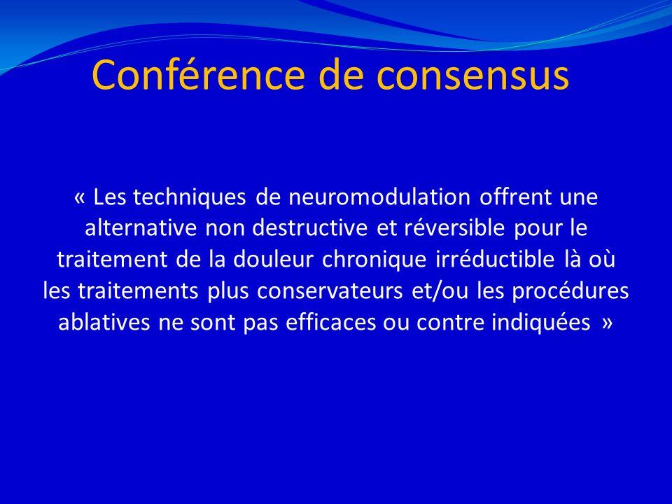 Conférence de consensus « Les techniques de neuromodulation offrent une alternative non destructive et réversible pour le traitement de la douleur chr
