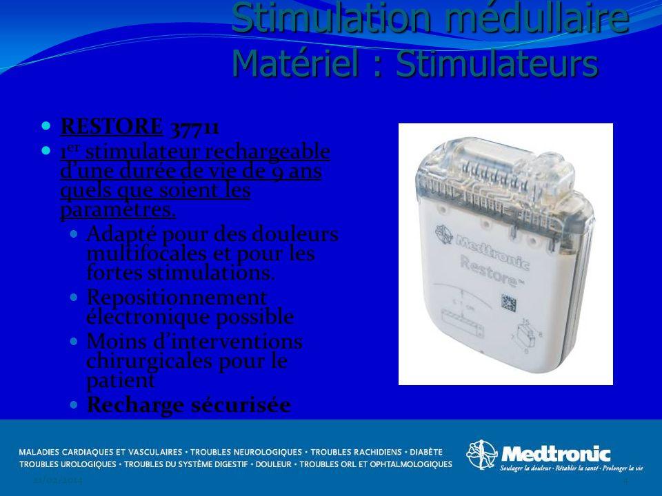 RESTORE 37711 1 er stimulateur rechargeable dune durée de vie de 9 ans quels que soient les paramètres. Adapté pour des douleurs multifocales et pour