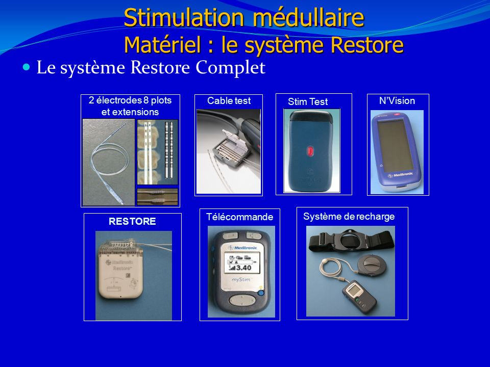 Le système Restore Complet 21/02/20146 Stimulation médullaire Matériel : le système Restore 2 électrodes 8 plots et extensions Système de recharge Tél