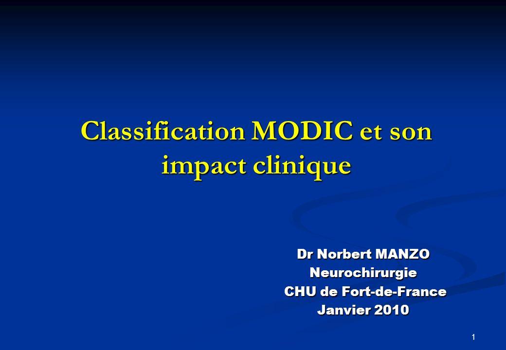 1 Classification MODIC et son impact clinique Dr Norbert MANZO Neurochirurgie CHU de Fort-de-France CHU de Fort-de-France Janvier 2010