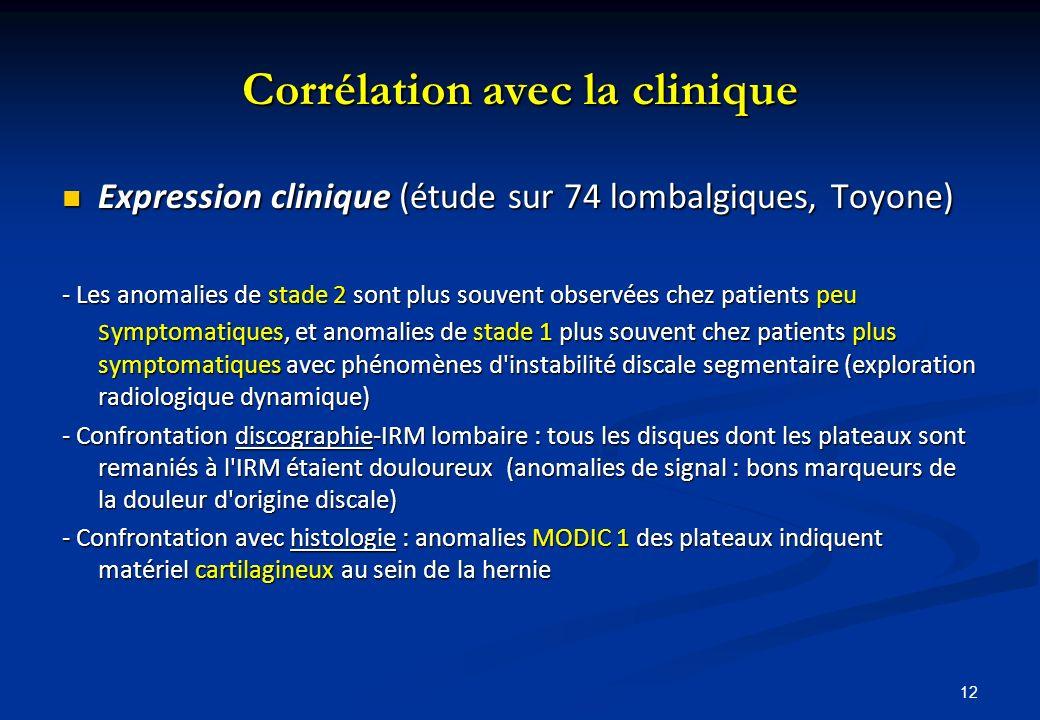 12 Corrélation avec la clinique Expression clinique (étude sur 74 lombalgiques, Toyone) Expression clinique (étude sur 74 lombalgiques, Toyone) - Les