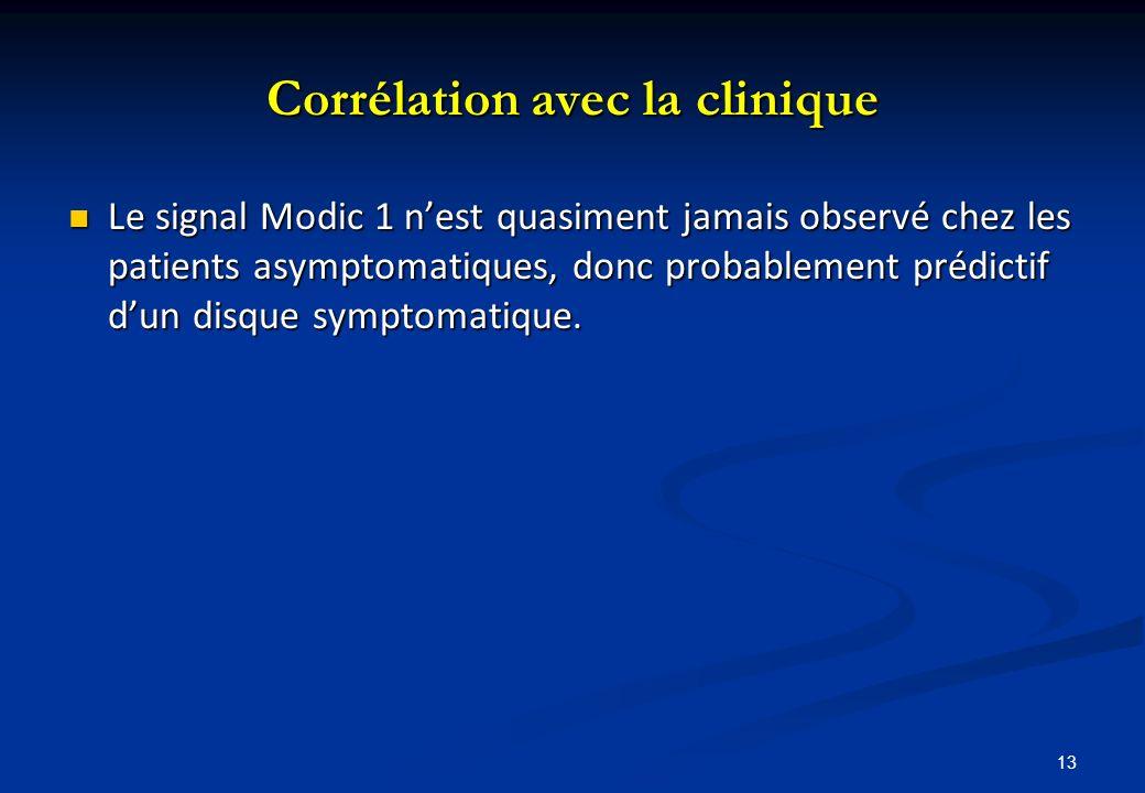 Corrélation avec la clinique Le signal Modic 1 nest quasiment jamais observé chez les patients asymptomatiques, donc probablement prédictif dun disque