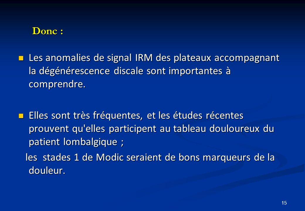 Donc : Les anomalies de signal IRM des plateaux accompagnant la dégénérescence discale sont importantes à comprendre. Les anomalies de signal IRM des
