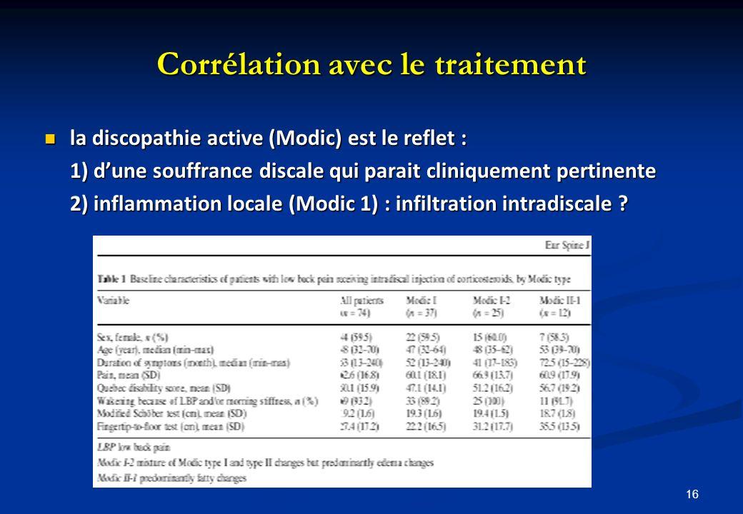 Corrélation avec le traitement la discopathie active (Modic) est le reflet : la discopathie active (Modic) est le reflet : 1) dune souffrance discale