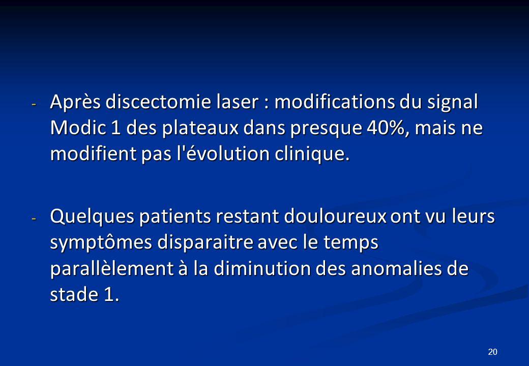 20 - Après discectomie laser : modifications du signal Modic 1 des plateaux dans presque 40%, mais ne modifient pas l'évolution clinique. - Quelques p