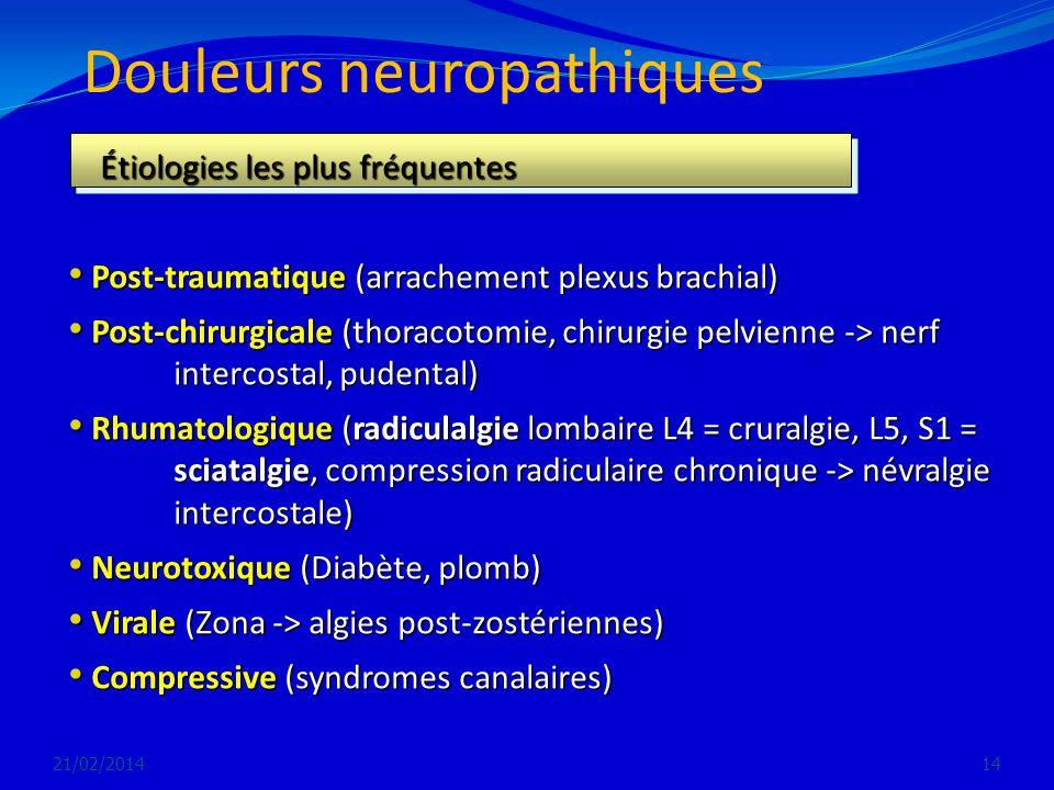 Douleurs neuropathiques 21/02/201414 Étiologies les plus fréquentes Étiologies les plus fréquentes Post-traumatique (arrachement plexus brachial) Post