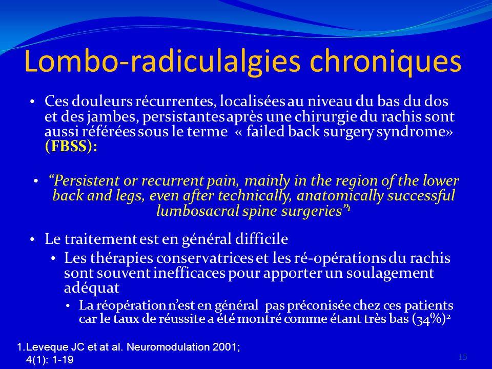 Lombo-radiculalgies chroniques Ces douleurs récurrentes, localisées au niveau du bas du dos et des jambes, persistantes après une chirurgie du rachis
