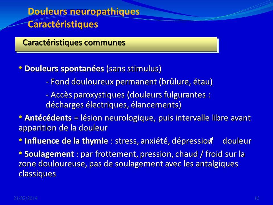 Douleurs neuropathiques Caractéristiques 21/02/201416 Caractéristiques communes Caractéristiques communes Douleurs spontanées (sans stimulus) Douleurs