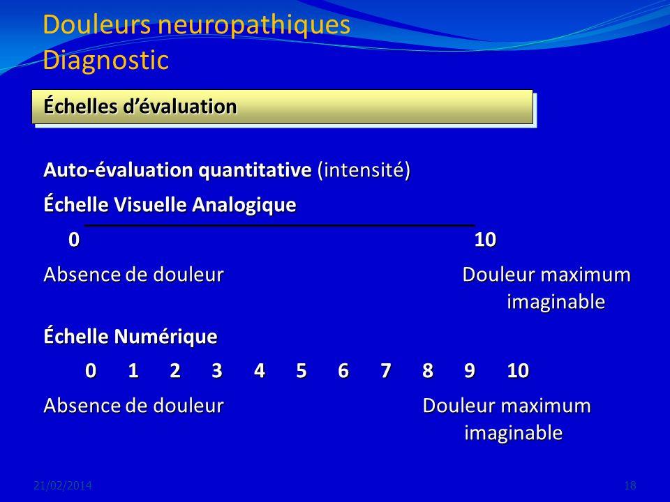 Douleurs neuropathiques Diagnostic 21/02/201418 Échelles dévaluation Auto-évaluation quantitative (intensité) Échelle Visuelle Analogique 0 10 0 10 Ab
