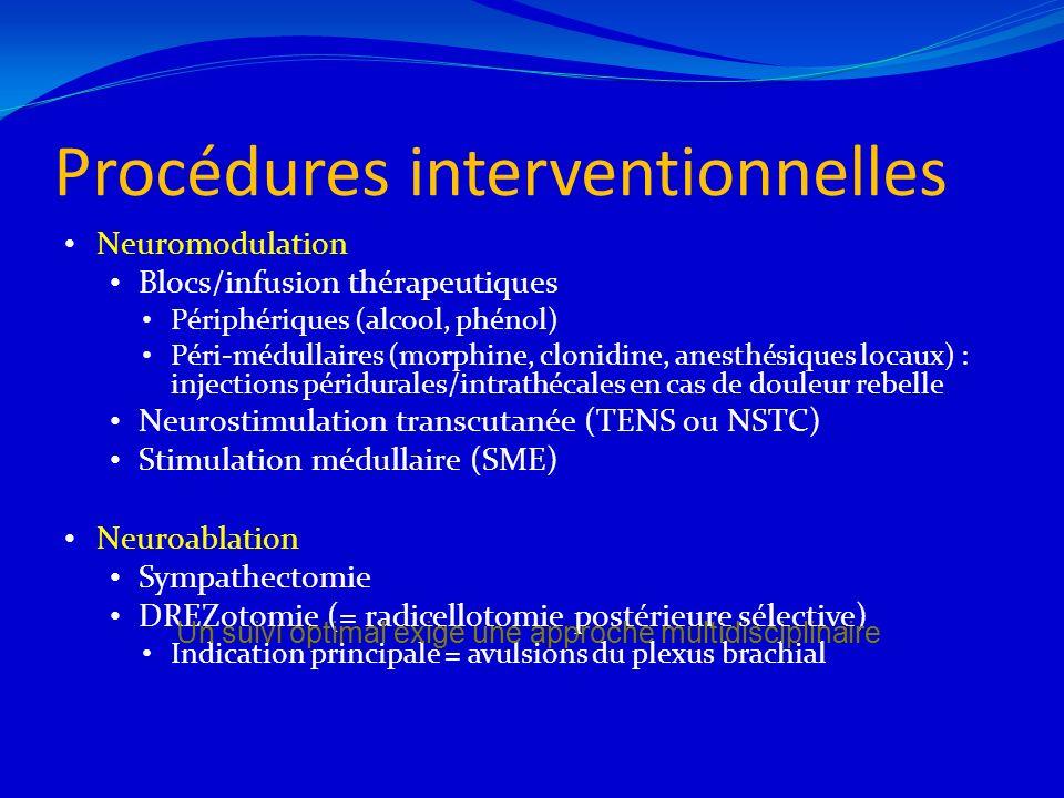 Procédures interventionnelles Neuromodulation Blocs/infusion thérapeutiques Périphériques (alcool, phénol) Péri-médullaires (morphine, clonidine, anes