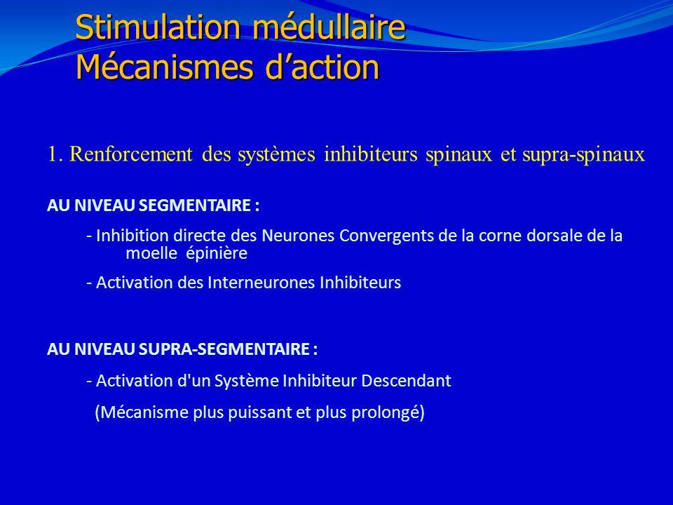 21/02/201429 1. Renforcement des systèmes inhibiteurs spinaux et supra-spinaux AU NIVEAU SEGMENTAIRE : - Inhibition directe des Neurones Convergents d