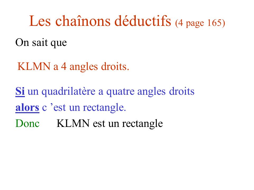 Les chaînons déductifs (4 page 165) On sait que Si un quadrilatère a quatre angles droits alors c est un rectangle. Donc KLMN est un rectangle KLMN a
