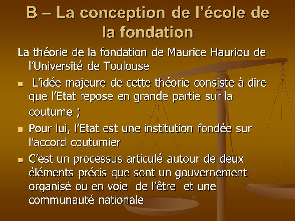 B – La conception de lécole de la fondation La théorie de la fondation de Maurice Hauriou de lUniversité de Toulouse Lidée majeure de cette théorie co
