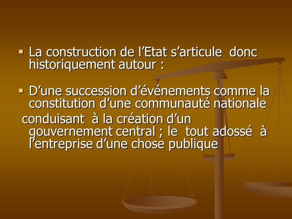 La construction de lEtat sarticule donc historiquement autour : La construction de lEtat sarticule donc historiquement autour : Dune succession dévéne