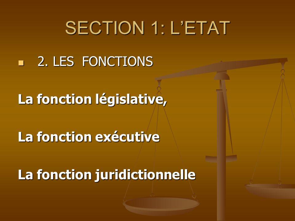 SECTION 1: LETAT 2. LES FONCTIONS 2. LES FONCTIONS La fonction législative, La fonction exécutive La fonction juridictionnelle
