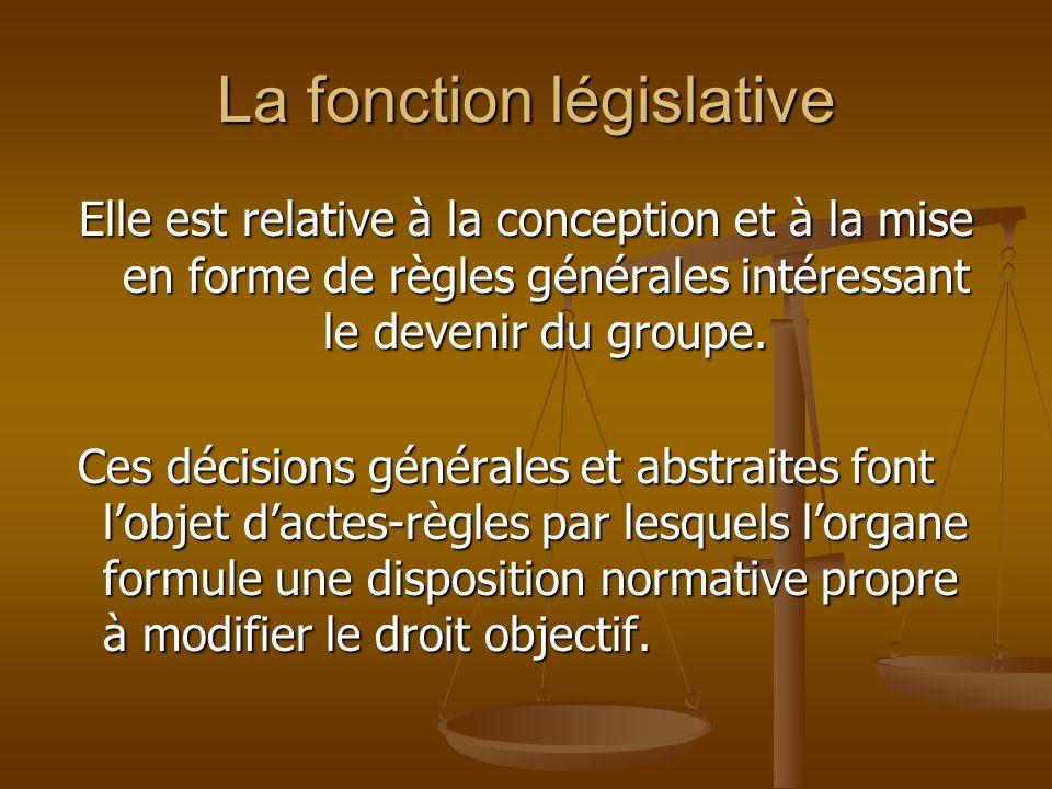 La fonction législative Elle est relative à la conception et à la mise en forme de règles générales intéressant le devenir du groupe. Ces décisions gé