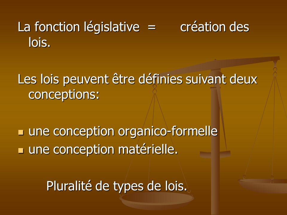 La fonction législative = création des lois. Les lois peuvent être définies suivant deux conceptions: une conception organico-formelle une conception