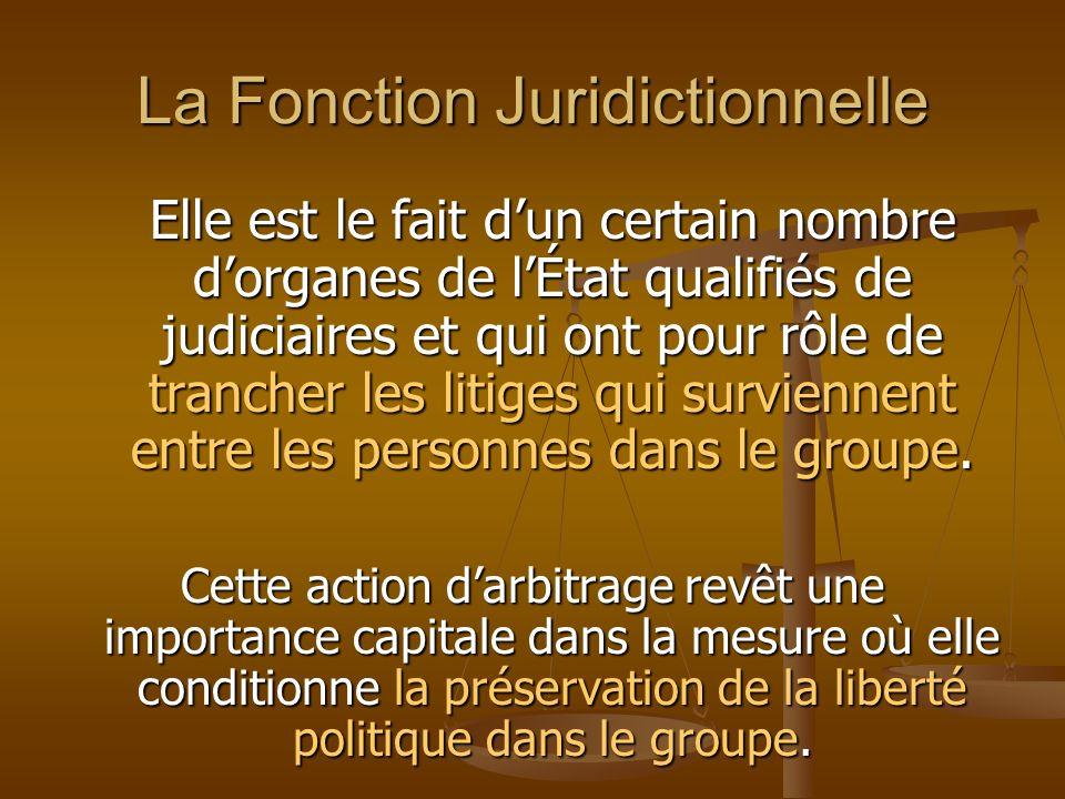 La Fonction Juridictionnelle Elle est le fait dun certain nombre dorganes de lÉtat qualifiés de judiciaires et qui ont pour rôle de trancher les litig