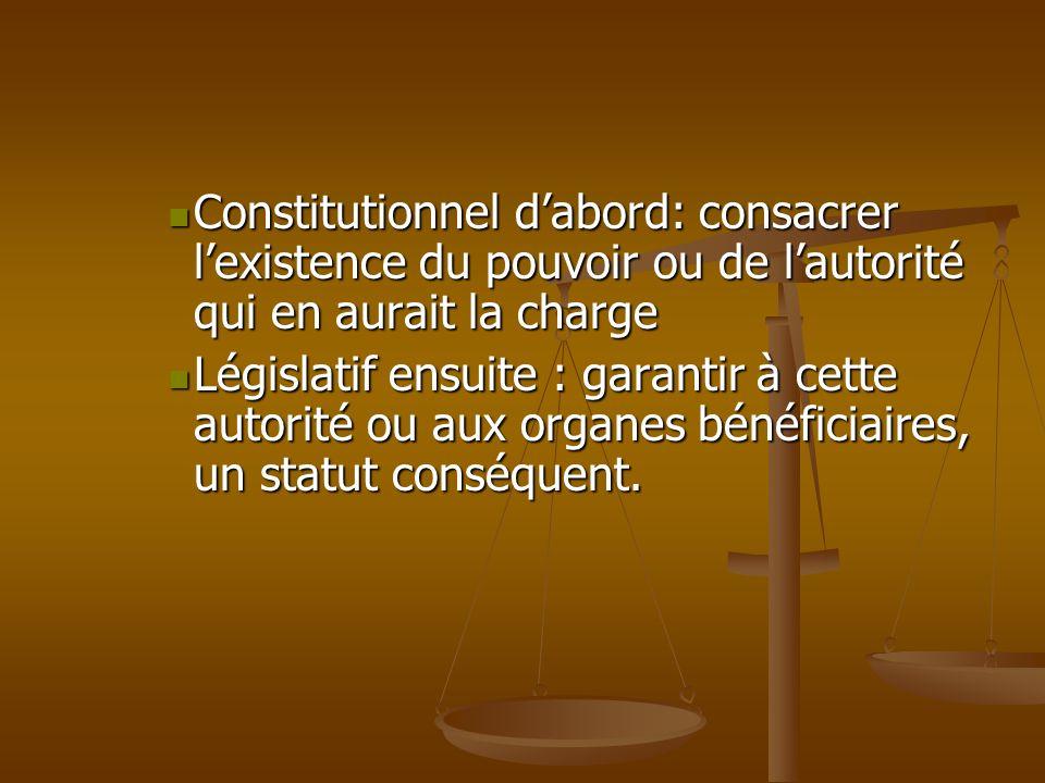 Constitutionnel dabord: consacrer lexistence du pouvoir ou de lautorité qui en aurait la charge Constitutionnel dabord: consacrer lexistence du pouvoi