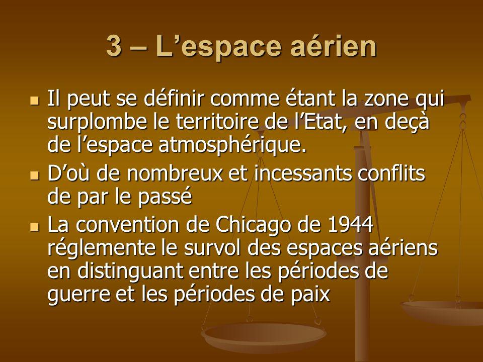 3 – Lespace aérien Il peut se définir comme étant la zone qui surplombe le territoire de lEtat, en deçà de lespace atmosphérique. Il peut se définir c