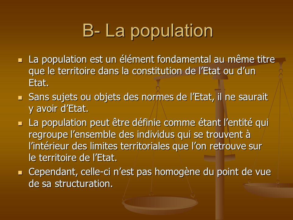 B- La population La population est un élément fondamental au même titre que le territoire dans la constitution de lEtat ou dun Etat. La population est