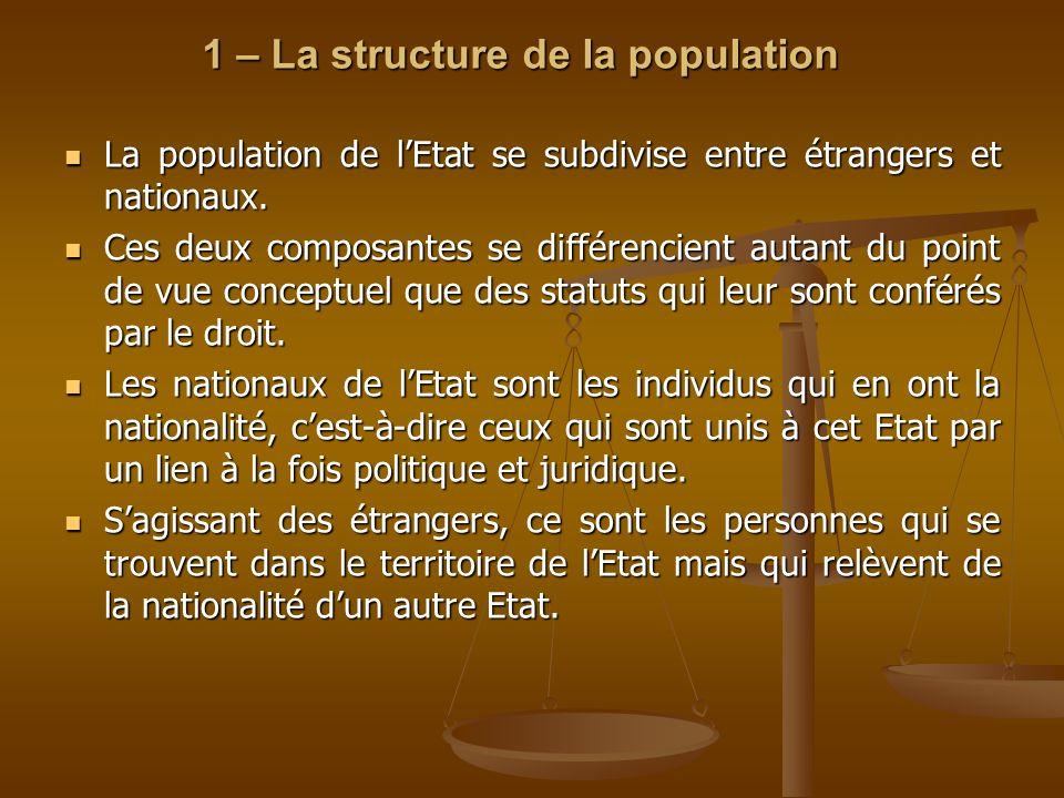 1 – La structure de la population La population de lEtat se subdivise entre étrangers et nationaux. La population de lEtat se subdivise entre étranger