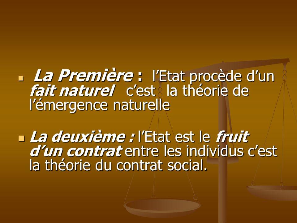La Première : lEtat procède dun fait naturel cest la théorie de lémergence naturelle La Première : lEtat procède dun fait naturel cest la théorie de l