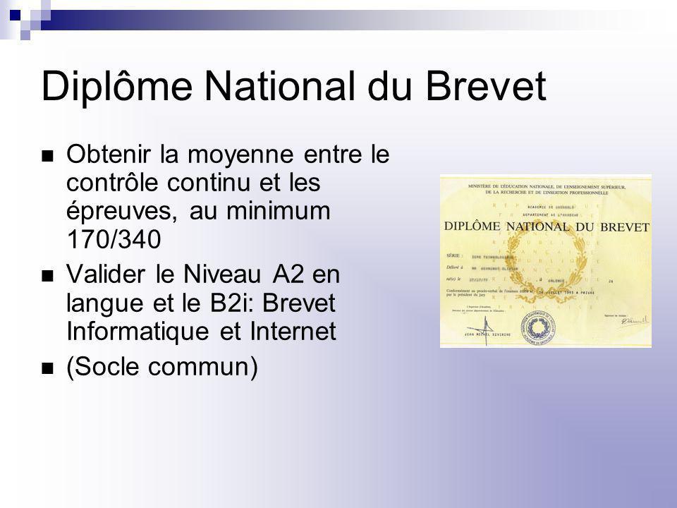 Diplôme National du Brevet Obtenir la moyenne entre le contrôle continu et les épreuves, au minimum 170/340 Valider le Niveau A2 en langue et le B2i: