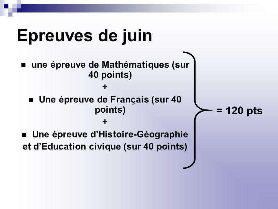 Epreuves de juin une épreuve de Mathématiques (sur 40 points) + Une épreuve de Français (sur 40 points) + Une épreuve dHistoire-Géographie et dEducati