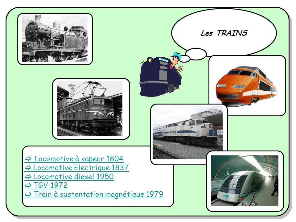 Locomotive à vapeur 1804 Locomotive Electrique 1837 Locomotive diesel 1950 TGV 1972 Train à sustentation magnétique 1979 Les TRAINS