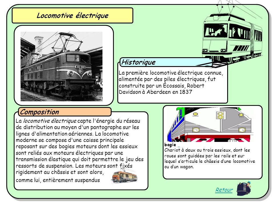La première locomotive électrique connue, alimentée par des piles électriques, fut construite par un Écossais, Robert Davidson à Aberdeen en 1837 Historique La locomotive électrique capte l énergie du réseau de distribution au moyen d un pantographe sur les lignes d alimentation aériennes.