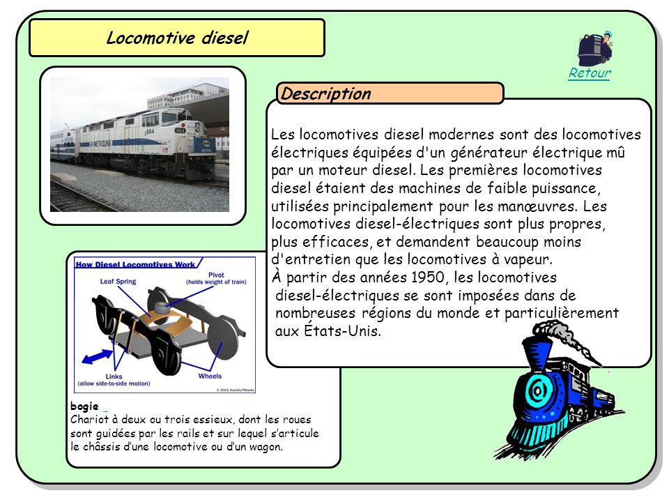 Locomotive diesel bogie Chariot à deux ou trois essieux, dont les roues sont guidées par les rails et sur lequel sarticule le châssis dune locomotive ou dun wagon.