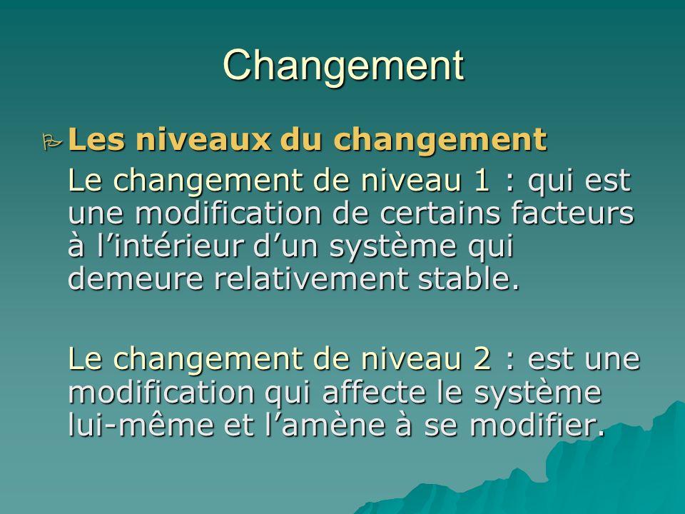 Changement Les causes du changement Les causes du changement *les évolutions technologiques *Le souci dun rendement meilleur