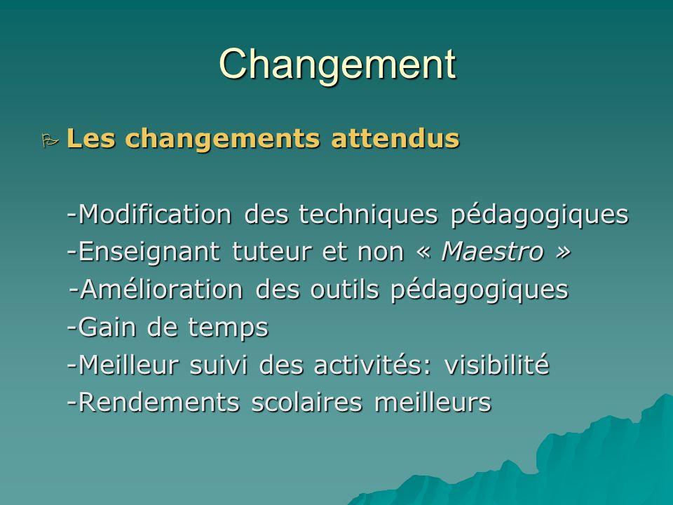 Changement Les niveaux du changement Le changement de niveau 1 : qui est une modification de certains facteurs à lintérieur dun système qui demeure re