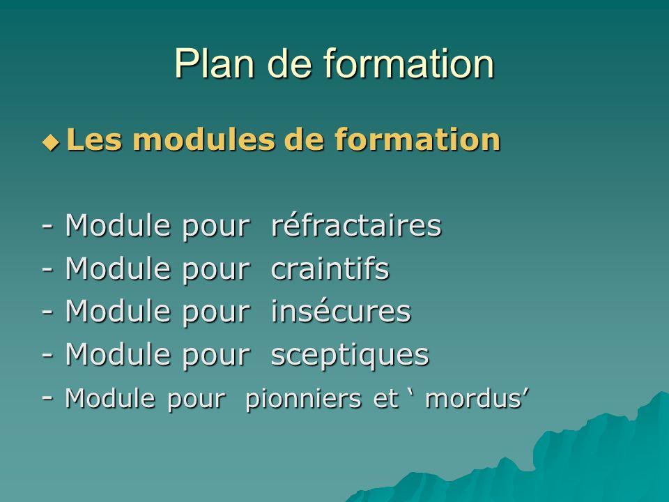 Plan de formation Les étapes dune formation 0- Eveil 1- Sinforme sur linnovation 2- Simplique personnellement 3- Gère limplantation 4- Observe les conséquences 5- Collabore à lintégration 6- Lintègre dans le système