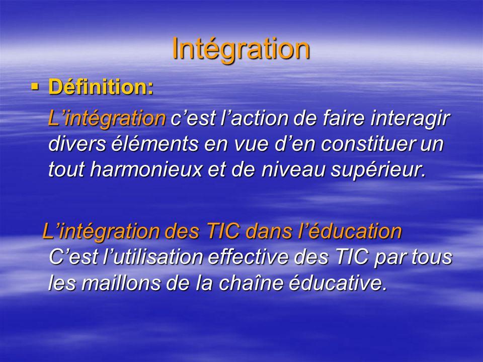 Intégration Définition: Lintégration cest laction de faire interagir divers éléments en vue den constituer un tout harmonieux et de niveau supérieur.
