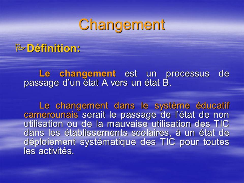 Changement Définition: Définition: Le changement est un processus de passage dun état A vers un état B.