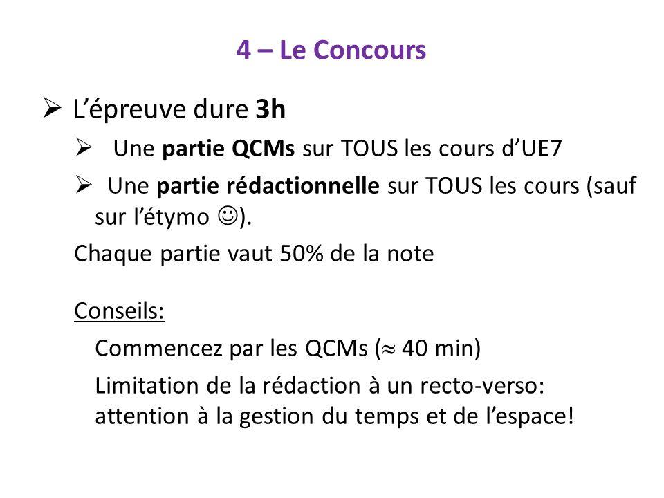 4 – Le Concours Lépreuve dure 3h Une partie QCMs sur TOUS les cours dUE7 Une partie rédactionnelle sur TOUS les cours (sauf sur létymo ). Chaque parti