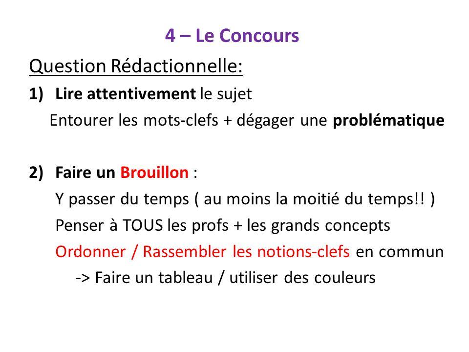 4 – Le Concours Question Rédactionnelle: 1)Lire attentivement le sujet Entourer les mots-clefs + dégager une problématique 2)Faire un Brouillon : Y pa