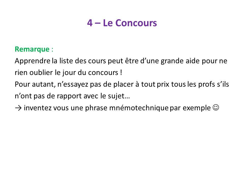 4 – Le Concours Remarque : Apprendre la liste des cours peut être dune grande aide pour ne rien oublier le jour du concours ! Pour autant, nessayez pa