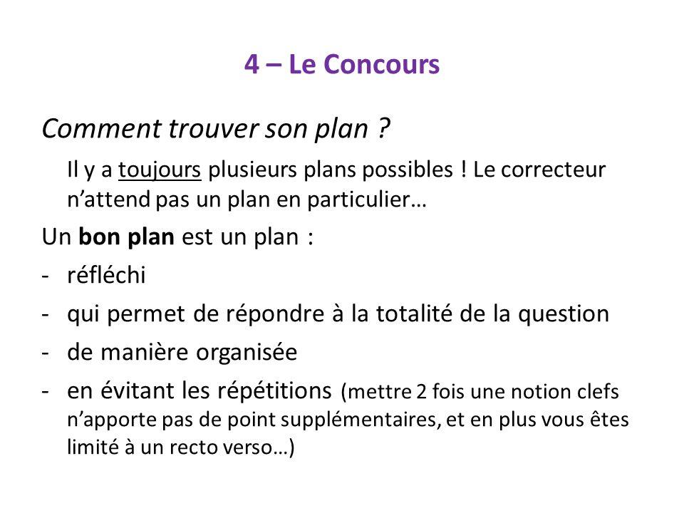 4 – Le Concours Comment trouver son plan ? Il y a toujours plusieurs plans possibles ! Le correcteur nattend pas un plan en particulier… Un bon plan e