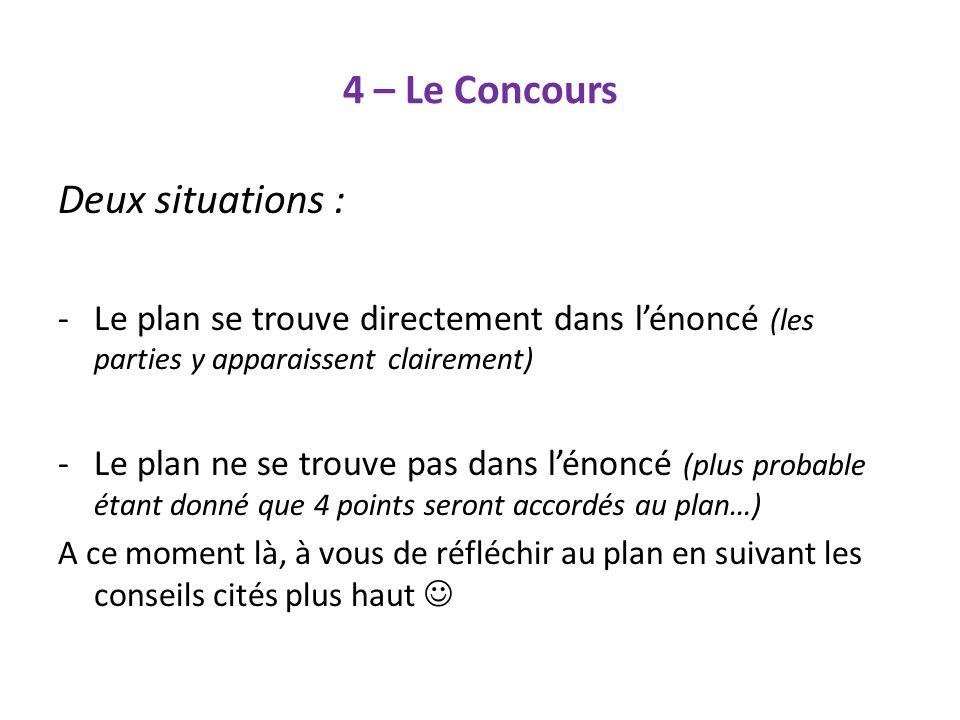 4 – Le Concours Deux situations : -Le plan se trouve directement dans lénoncé (les parties y apparaissent clairement) -Le plan ne se trouve pas dans l