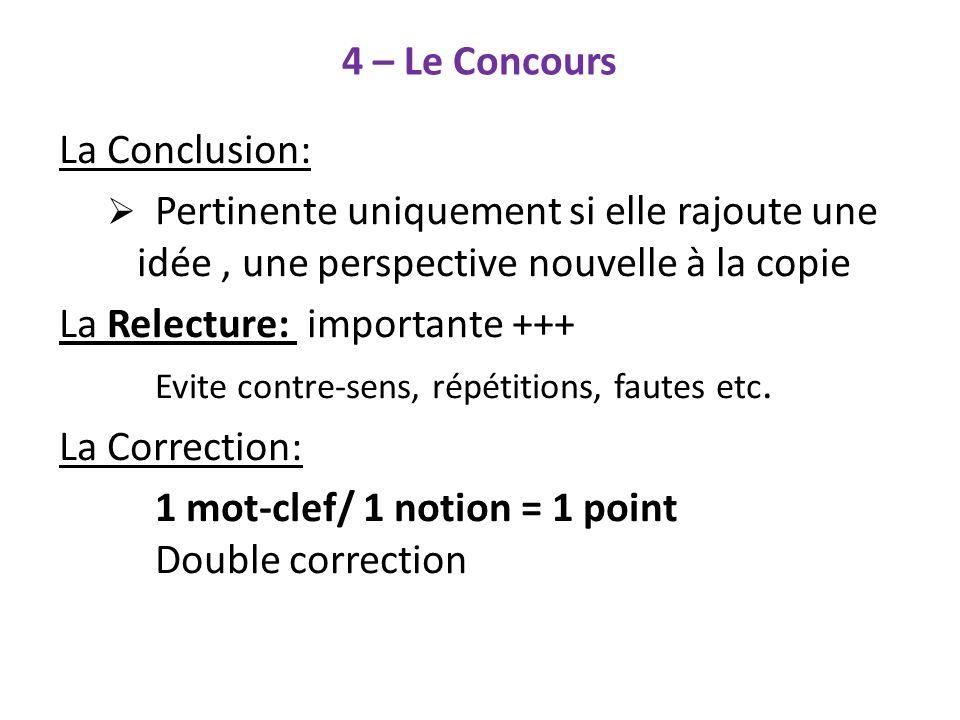 4 – Le Concours La Conclusion: Pertinente uniquement si elle rajoute une idée, une perspective nouvelle à la copie La Relecture: importante +++ Evite